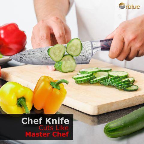 Chefs Knife – ORBLUE 8-Inch High Carbon Stainless Steel Kitchen Chef's Knife for Cutting, Chopping, Dicing, Slicing & Mincing – Professional Cooking Knife with Ergonomic Handle & Sharp Blade