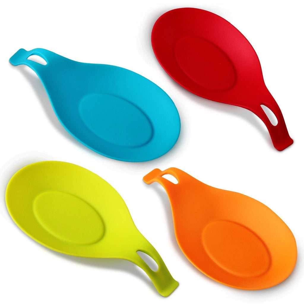 Almond-Shaped Silicone Spoon Rest, 4-pack