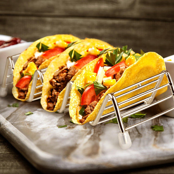Orblue Stainless Steel Taco Holders w/Space for 9 to 12 Tacos - 3 Pack