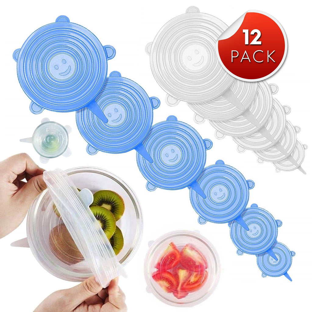 Orblue 12 Pack Reusable Silicone Lids - 6 Sizes - Blue and White Colors - Eco-Friendly, Dishwasher Safe - BONUS SET OF 2 Free Reusable Snack Bags