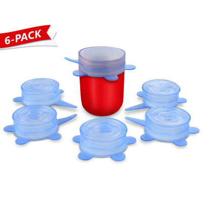 "Silicone Stretch Lids, Small, 2.6"" (6-Pack) - Orblue"
