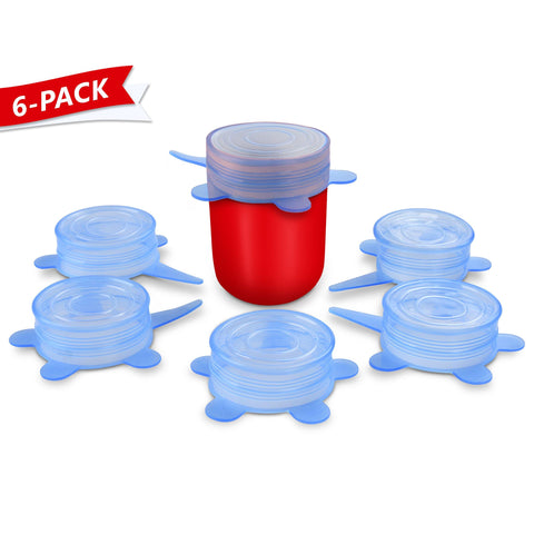ORBLUE Silicone Stretch Lids, 6-Pack Small, 2.6 inches (stretches to 3.5 inches)