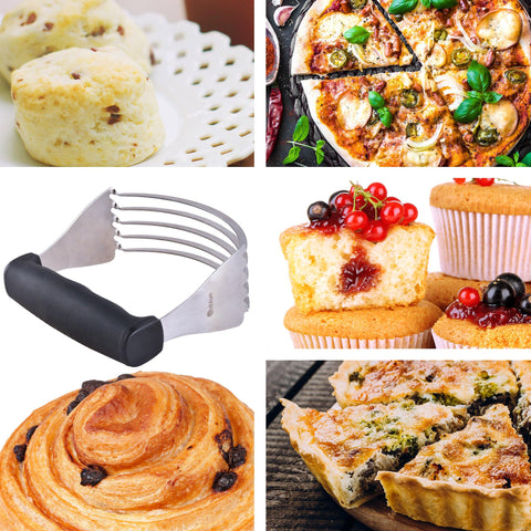 Orblue Pastry Cutter, High Quality Dough Blender with 5 Sturdy Blades Made of Top Quality Stainless Steel (Black-Large)