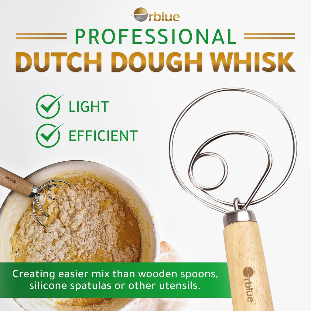 "ORBLUE Premium Danish Dough Whisk - Ultimate 2 Pack LARGE 13.5"" Stainless Steel Dutch Whisk for Bread, Pastry or Pizza Dough - Perfect Baking Tool Alternative to a Blender, Mixer or Hook"