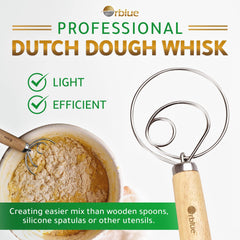 ORBLUE Premium Danish Dough Whisk - Ultimate 2 Pack LARGE 13.5