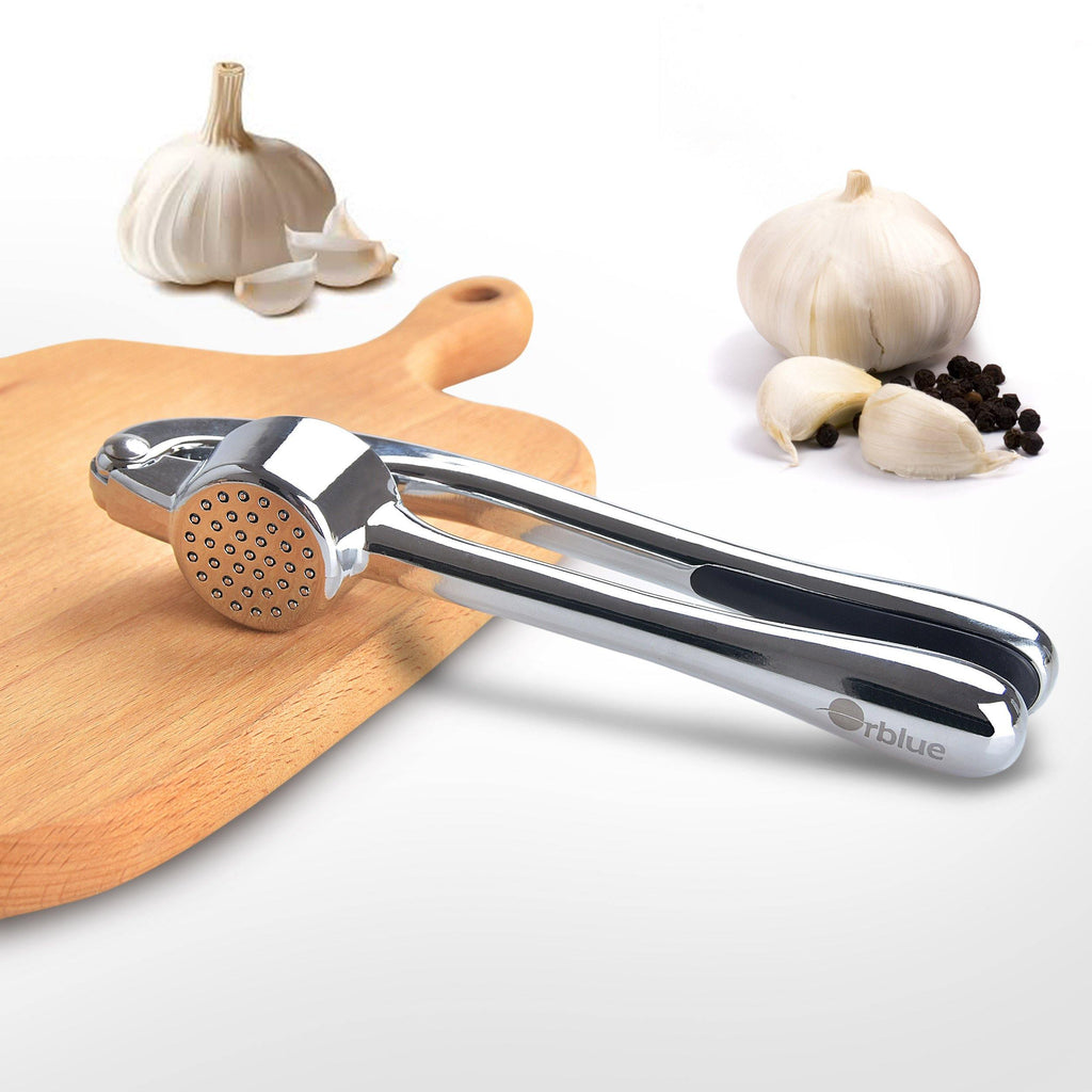 Garlic Press and Mincer with Silicone Garlic Peeler and Brush