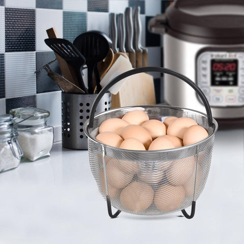 ORBLUE Steamer Basket for Instant Pot 3 Quart Accessories [6qt 8qt Avail] fits InstaPot, Ninja Foodi, Other Pressure Cookers, Strainer Insert for Insta Pot Ultra, Silicone Handle, for IP Mini 3 Qt