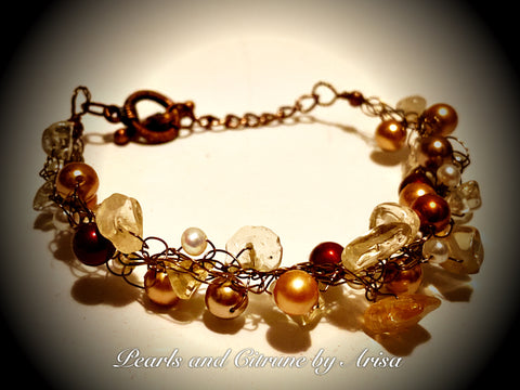 Swarovski Pearls, Fresh Water Pearls and Citrine Bracelet