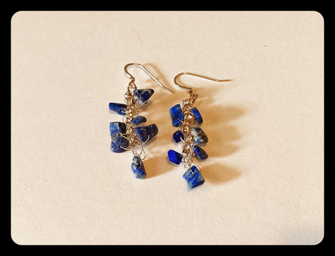 Lapis Lazuli and Rhinestone Earrings