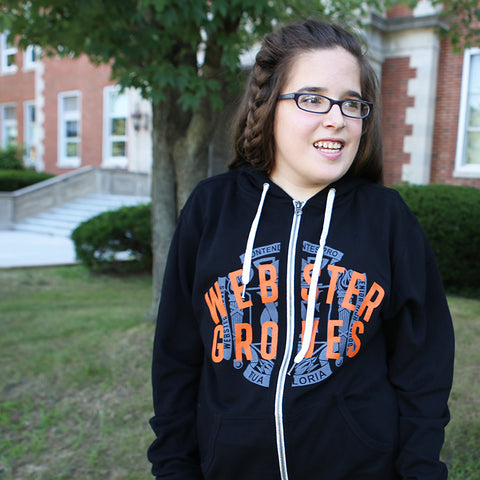 Sweatshirt - Full Zip Hoodie Black Crest Webster Groves