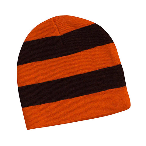 Orange and Black Rugby Striped Knit Beanie Hat