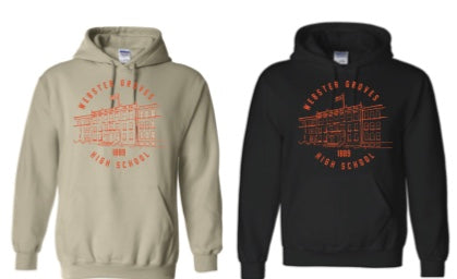 Sweatshirt - Hoodie with WGHS building (BLACK & SAND)