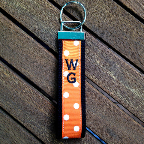 Orange Polka Dot WG Wristlet Key Fob