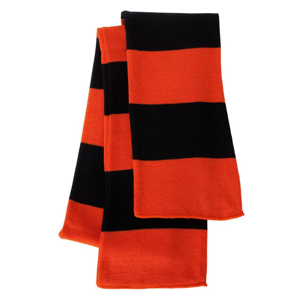 Orange and Black Rugby Striped Knit Scarf