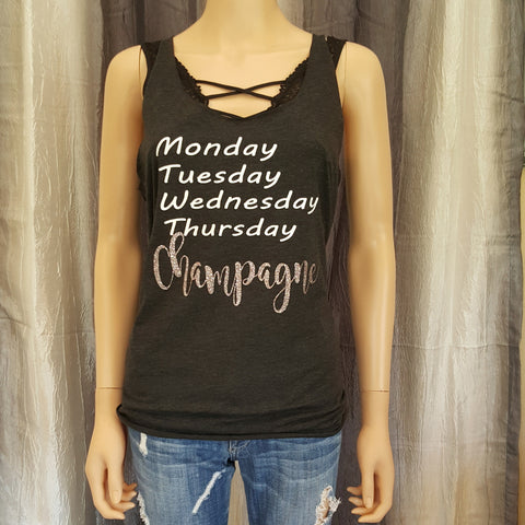 Monday, Champagne Racerback Tank - Charcoal Black - Small - Sweet or Spicy Apparel - 1
