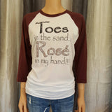 Toes in the sand... Rose in my hand!!!  Baseball Tee - Burgundy Raglan - Medium - Sweet or Spicy Apparel - 1