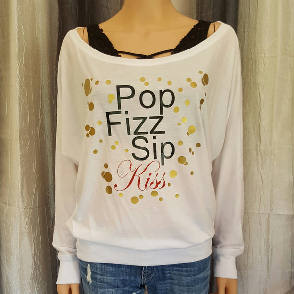 Pop Fizz Sip Kiss Off-Shoulder Tee - White - Small - Sweet or Spicy Apparel - 1