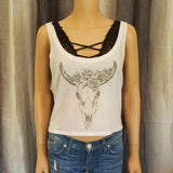 Bull Skull with Roses Tank Top -  - Sweet or Spicy Apparel - 1