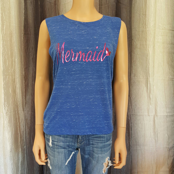 Mermaid Muscle Tee - Royal Marble - Small - Sweet or Spicy Apparel - 1