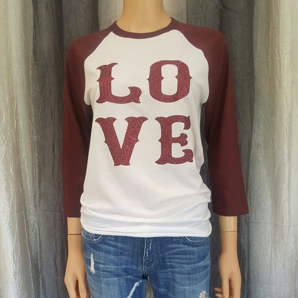 LO VE Baseball Tee - White/Burgundy- Small - Sweet or Spicy Apparel - 1