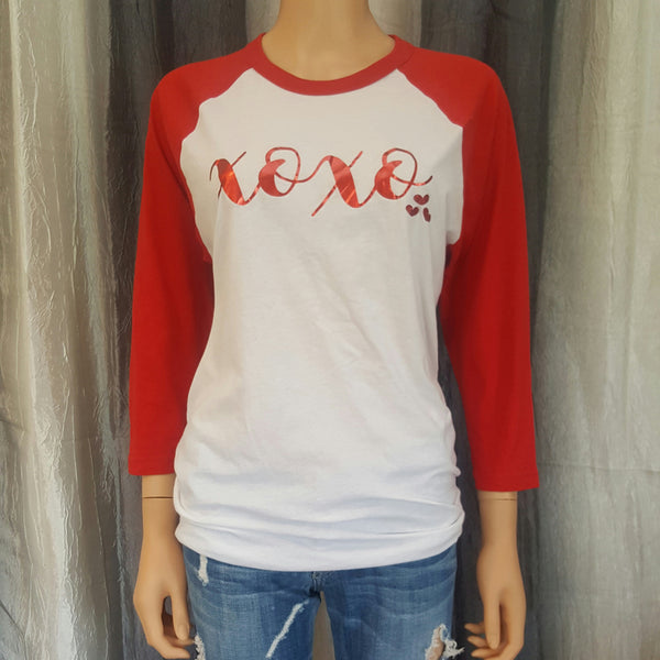 XOXO Baseball Tee - White/Red- Small - Sweet or Spicy Apparel - 1