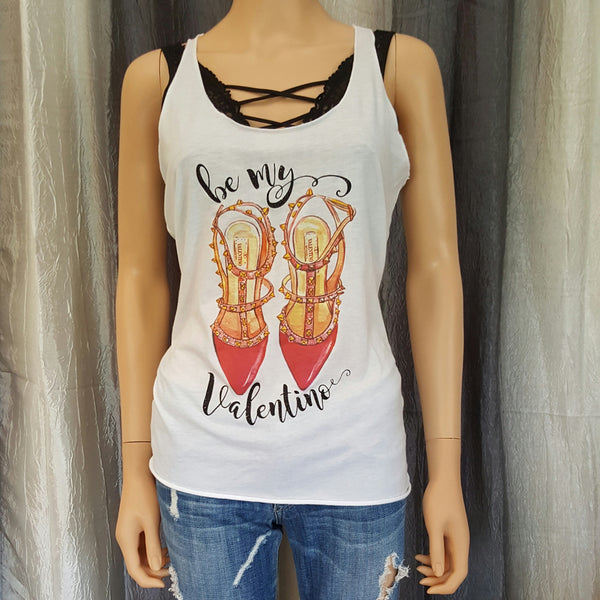 be my Valentino Racerback Tank - White - Small - Sweet or Spicy Apparel - 1