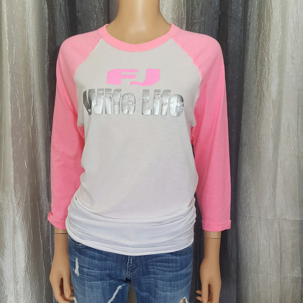 FJ Wife Life Baseball Tee - White/Neon Pink -  Medium - Sweet or Spicy Apparel - 1