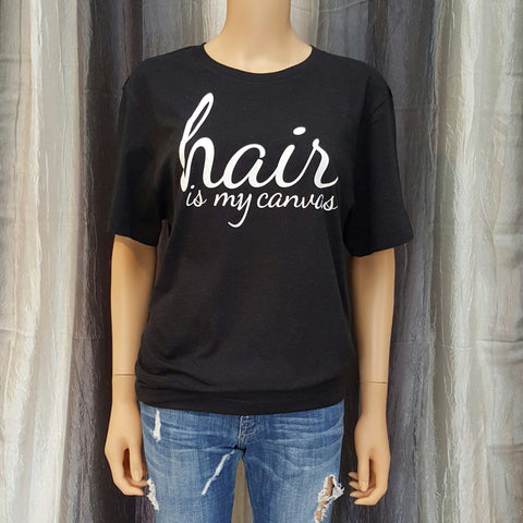 hair is my canvas Unisex Tee - Black Heather - Small - Sweet or Spicy Apparel - 1