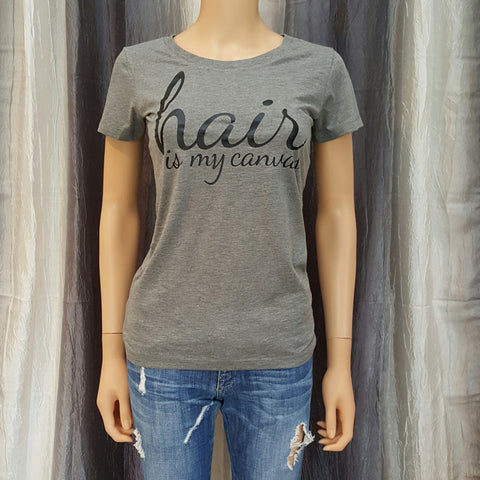 hair is my canvas Tee - Heather Grey - Medium - Sweet or Spicy Apparel - 1