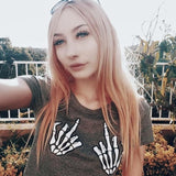 Skeleton Hands Crop Top Tee