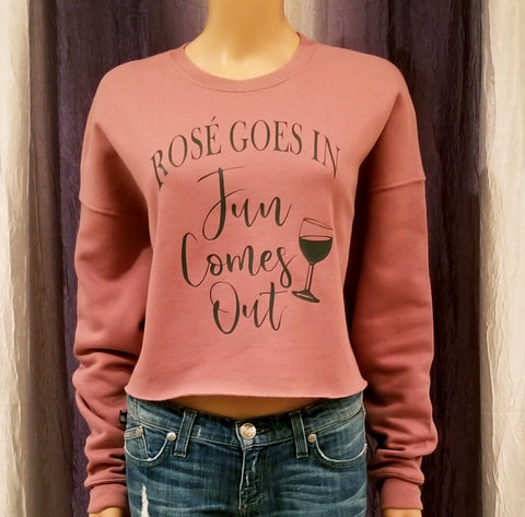 ROSE' GOES IN Fun Comes Out Cropped Fleece Crew