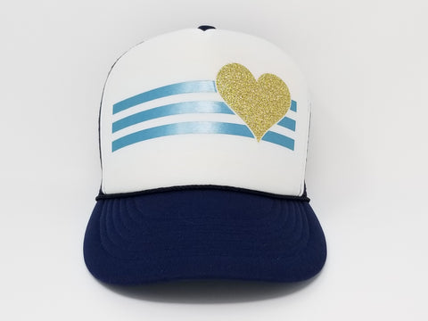 Stripes and Heart Trucker Hat