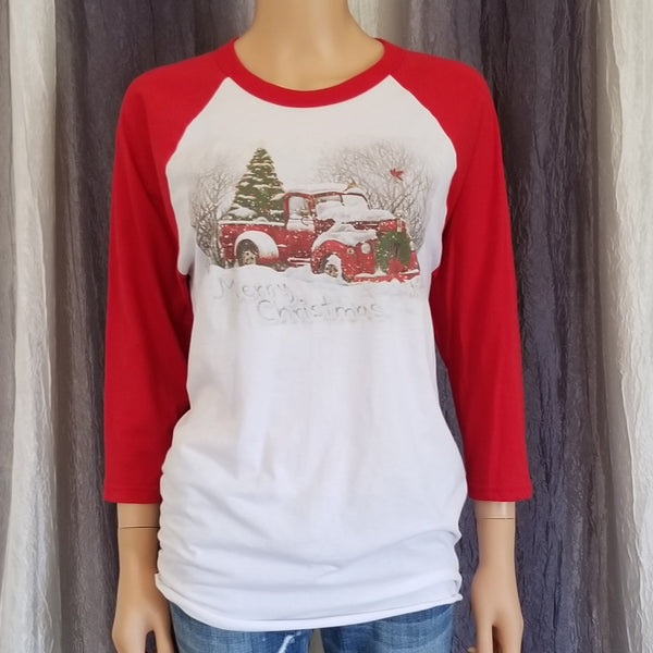 Vintage Red Truck Christmas Baseball Tee