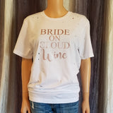 BRIDE ON CLOUD Wine Distressed Tee