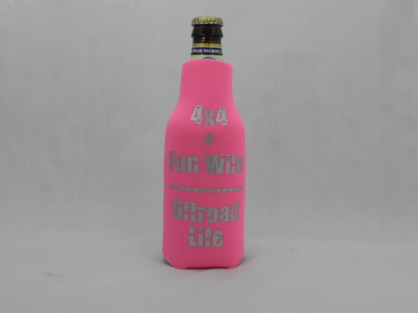 4X4 + Fun Wife = Offroad Life Zippered Bottle Koozie -  - Sweet or Spicy Apparel - 1