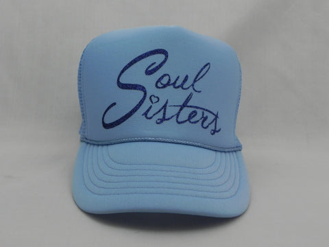 Soul Sisters Trucker Hat - Light Blue Hat with Light Blue Face - Sweet or Spicy Apparel - 1