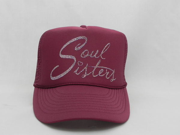 Soul Sisters Trucker Hat - Burgundy Hat with Burgundy Face - Sweet or Spicy Apparel - 4