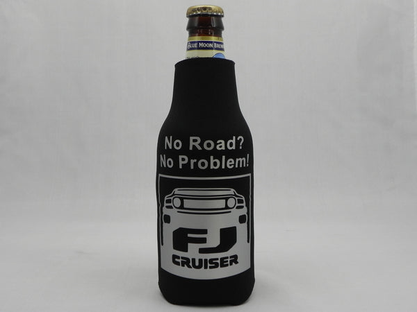 No Road? No Problem FJ Cruiser Zippered Bottle Koozie - black Koozie with Silver Script - Sweet or Spicy Apparel - 1