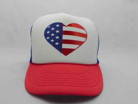 USA Flag Heart Trucker Hat -  - Sweet or Spicy Apparel - 1
