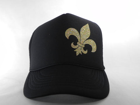 Fleur de Lis Trucker Hat - Black Hat with Black Face - Sweet or Spicy Apparel - 1