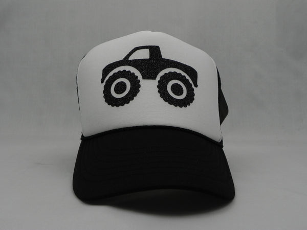 Monster Truck-Trucker Hat - Black Trucker Hat with white face - Sweet or Spicy Apparel - 1