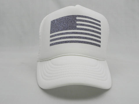 Flag Trucker Hat - White Hat with White Face - Sweet or Spicy Apparel - 1