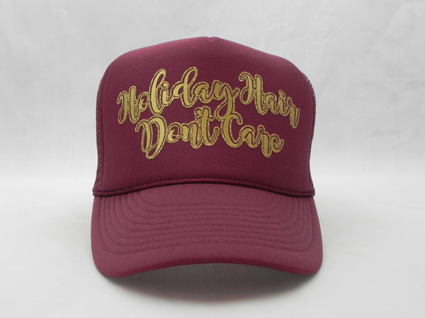 Holiday Hair Don't Care Trucker Hat - Burgundy Hat with Burgundy Face - Sweet or Spicy Apparel - 1