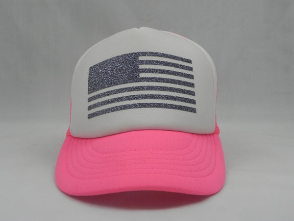 Flag Trucker Hat - Neon Pink Hat with White Face - Sweet or Spicy Apparel - 4