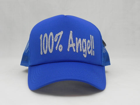 100% Angel Trucker Hat - Royal Blue Hat with Royal Blue Face - Sweet or Spicy Apparel - 1