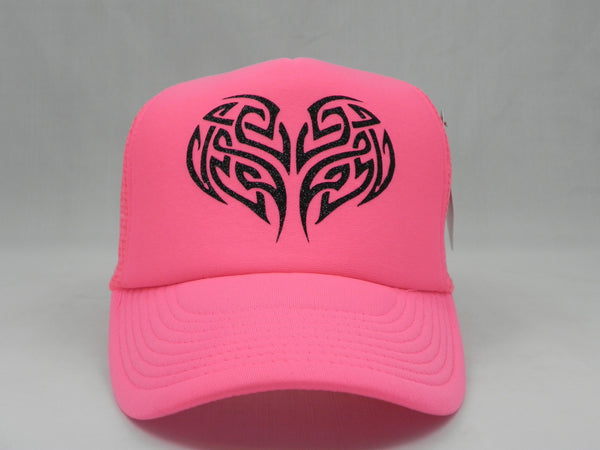 Tribal Tree of Life Trucker Hat - Neon Pink Hat with Neon Pink Face - Sweet or Spicy Apparel - 4