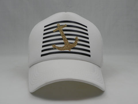 Stripes & Anchor Trucker Hat - White Hat with White Face - Sweet or Spicy Apparel - 4