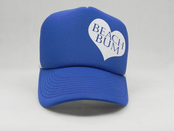 BEACH BUM Trucker Hat - White Hat with Royal Blue Face/Bill - Sweet or Spicy Apparel - 1