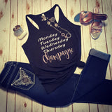 Monday, Champagne Racerback Tank -  - Sweet or Spicy Apparel - 5