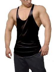 Black Color Burn Stringer Tank Top
